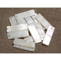 8pc - Perles Breloques Pendentifs Nacre Blanche Rectangles 30mm 4558550001313