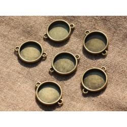 5pc - Supports Connecteurs Cabochons Métal Bronze qualité Rond 16mm 4558550004222