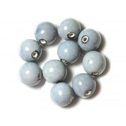 10pc - Grosses Perles Céramique Porcelaine Boules 20mm Bleu 4558550004420