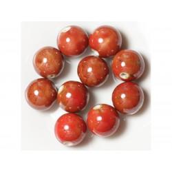 10pc - Grosses Perles Céramique Porcelaine Boules 20mm Rouge 4558550004451