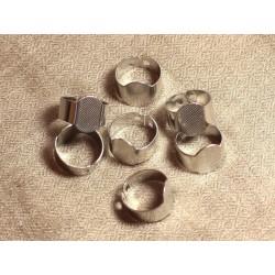 2pc - Bague Support Métal Argenté Rhodium Ovale 15x10mm 4558550005335
