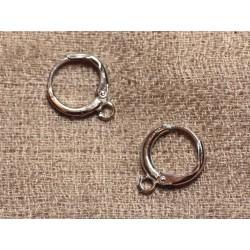 10pc - Boucles Oreilles Rhodium Dormeuses Créoles 11mm 4558550005779