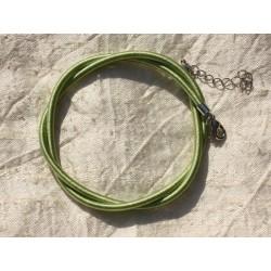 1pc - Collier Tour de cou Soie 3mm Vert 46cm 4558550006370