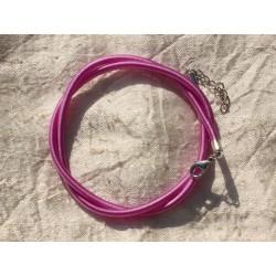 1pc - Collier Tour de cou Soie 3mm Rose Fuchsia 46cm 4558550006790