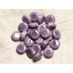 5pc - Perles Porcelaine Céramique Palets 14mm Mauve 4558550006875