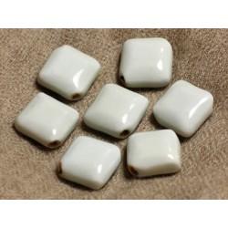 6pc - Perles Céramique Porcelaine Losanges 16x7mm blanc cassé gris vert 4558550007001