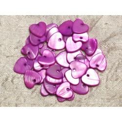10pc - Perles Breloques Pendentifs Nacre Coeurs 11mm Rose Fuchsia Violet 4558550008435