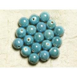 10pc - Perles Porcelaine Céramique Bleu Turquoise Boules 12mm 4558550009531