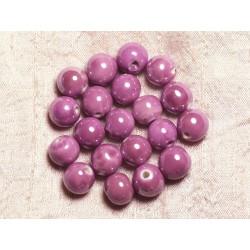 10pc - Perles Porcelaine Céramique Boules 12mm Rose Mauve - 4558550009555