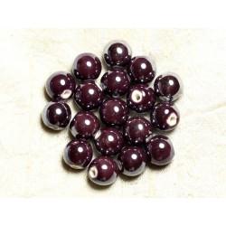 10pc - Perles Porcelaine Céramique Violet Boules 12mm 4558550009579