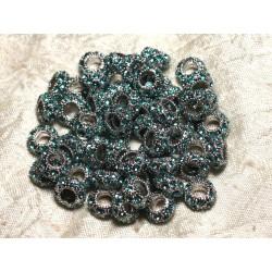 2pc - Perles rondelles 11mm gros trous - Métal Argenté Rhodium et Strass Verre Bleu Turquoise - 4558550009968