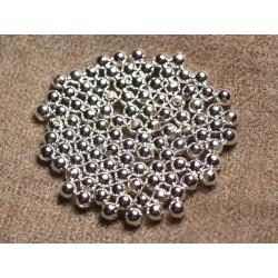 20pc - Perles Métal Argenté Rhodium Boules 4mm 4558550011138
