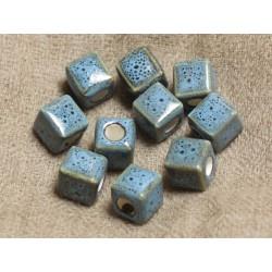 10pc - Perles Céramique Turquoises Cubes 10mm Perçage 4mm 4558550011336