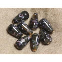 2pc - Perles Céramique Noires - Gouttes 24x12mm 4558550012333