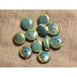 5pc - Perles Céramique Porcelaine Palets 14mm Bleu Turquoise - 4558550105646