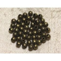 50pc - Perles Métal Bronze Qualité Boules 4mm 4558550013316
