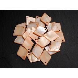 10pc - Perles Breloques Pendentifs Nacre Losanges 21mm Orange 4558550014443