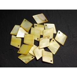 10pc - Perles Breloques Pendentifs Nacre Losanges 21mm Jaune 4558550014931