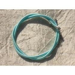 1pc - Collier Tour de cou Soie 3mm Bleu Turquoise 46cm 4558550017284