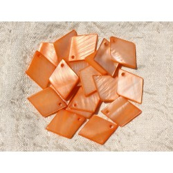 10pc - Breloques Pendentifs Nacre Losanges 21mm Orange 4558550019011