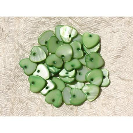 10pc - Breloques Pendentifs Nacre Coeurs 11mm Vert 4558550019509
