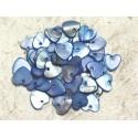 10pc - Perles Breloques Pendentifs Nacre Coeurs 11mm Bleu 4558550019639