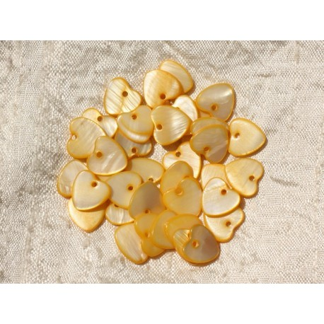 10pc - Breloques Pendentifs Nacre Coeurs 11mm Jaune 4558550019653