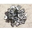 10pc - Colgantes con dijes de perlas Corazones de nácar 11 mm Gris Negro 4558550019875