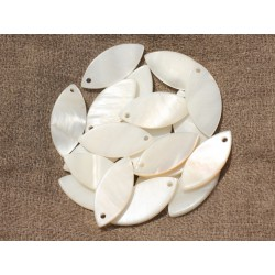 8pc - Perles Breloques Pendentifs Nacre Blanche Marquise 26x12mm 4558550020055