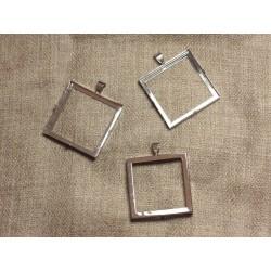 10pc - Support Pendentif Métal Argenté Rhodium Carré 30mm 4558550020192