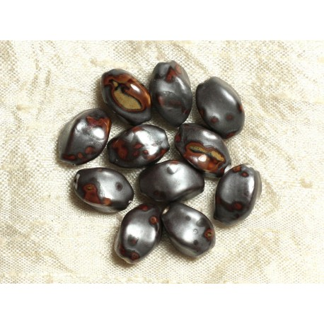 10pc - Perles Céramique Grises Olives 16mm 4558550020215