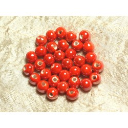 10pc - Perles Porcelaine Céramique Boules 8mm Orange 4558550023780