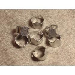 10pc - Bagues Supports Métal Argenté Rhodium Ovales 15x10mm 4558550024664