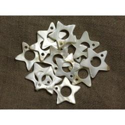 10pc - Perles Breloques Pendentifs Nacre Etoiles 24mm 4558550030429