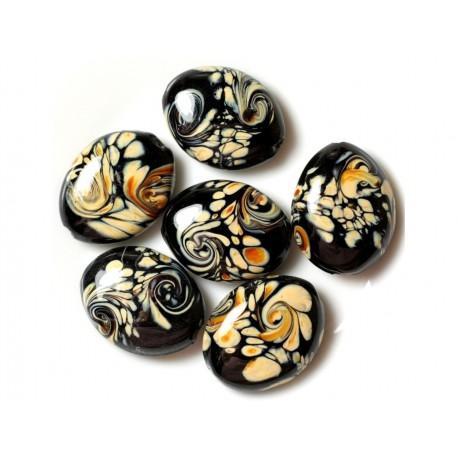 2pc - Perles en Verre Ovales 25x20mm Noir et Jaune 4558550030696