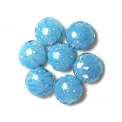 2pc - Perles en Verre Palets 20mm Bleu Turquoise 4558550032249
