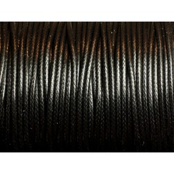 5 mètres - Cordon Coton Ciré 2mm Noir - 4558550085955