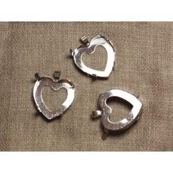10pc - Support Pendentif Métal Argenté Plaqué Rhodium Coeur 25mm 4558550033284