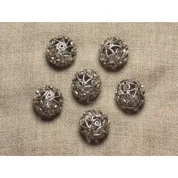 Perle Métal Argenté Plaquage Rhodium Boule Filigrane 18mm - 1pc 4558550034243
