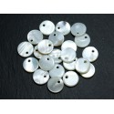 10pc - White Mother of Pearl Pendants Charms Round 10mm 4558550037138