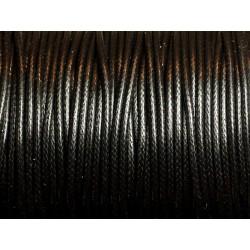 5 Mètres - Cordon de Coton Ciré 1mm Noir 4558550080530
