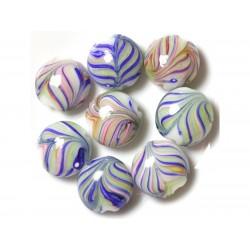 4pc - Palets Cuentas de vidrio 18 mm Azul Verde Rosa Hojas 4558550038043