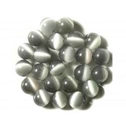 4pc - Perles en Verre Oeil de Chat Boules 12mm Gris Argenté 4558550038715