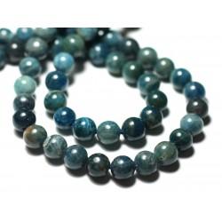 Fil 39cm 50pc env - Perles de Pierre - Apatite bleu vert paon Boules 8mm