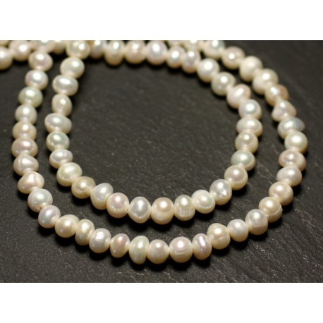 Fil 36cm 85pc env - Perles culture eau douce Boules 4-5mm Blanc irisé
