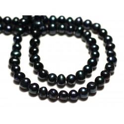 Fil 35cm 83pc env - Perles culture eau douce Boules 4-5mm Noir irisé