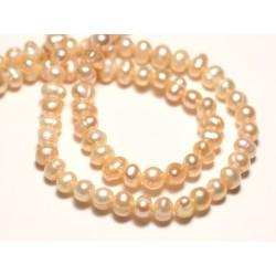 Fil 35cm 78pc env - Perles culture eau douce Boules 4-5mm Rose clair pastel irisé