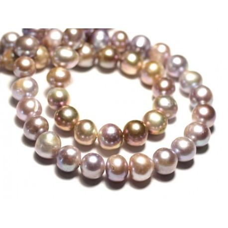 Fil 38cm 42pc env - Perles culture eau douce Boules 8-10mm Rose clair mauve pastel irisé