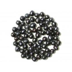 Fil 36cm 57pc env - Perles culture eau douce noires Boules Olives 5-6mm