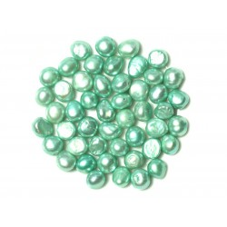 Fil 38cm 46pc env - Perles culture eau douce Boules Palets 7-9mm Vert Turquoise Menthe Pastel